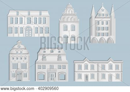 White Paper Houses Set On The Gray Background. Origami City Houses With Windows And Door. Cottage Ex