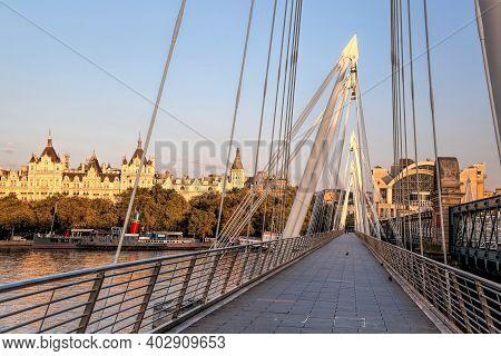 Golden Jubilee Bridge During Sunrise In London, England, Uk