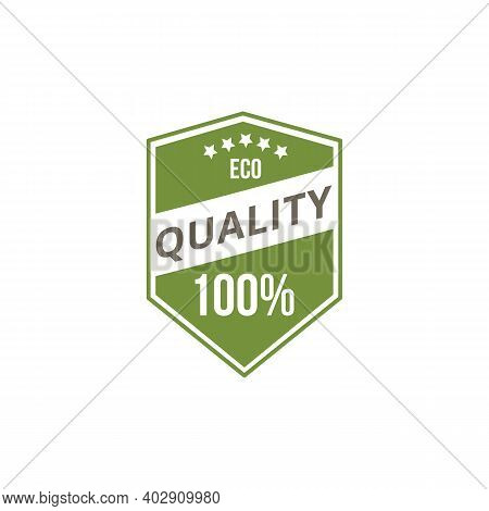 Green Eco Quality Badge, Organic Food Label For Eco Friendly Product