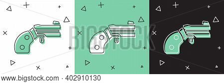 Set Small Gun Revolver Icon Isolated On White And Green, Black Background. Pocket Pistol For Self-de