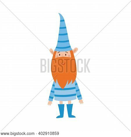 Cute Holiday Gnome In Blue Striped Clothes. Happy Ginger Elf