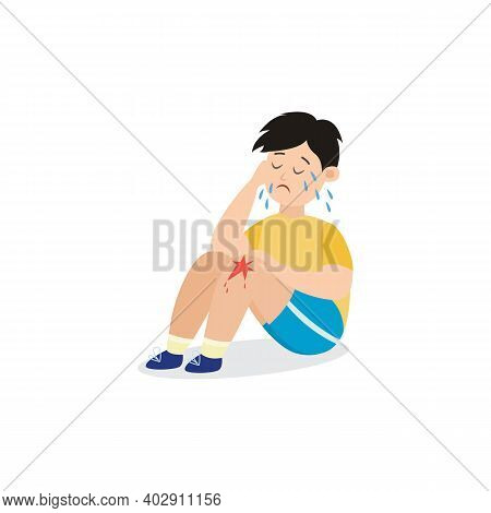 Little Child Cries Feeling Pain Of Knee Wound Flat Vector Illustration Isolated.