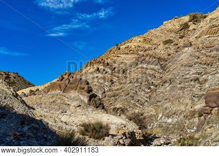 Dragon Tail, Colas De Dragon In Tabernas Desert In Almeria, Spain. Geological Erosion Called Tubirti