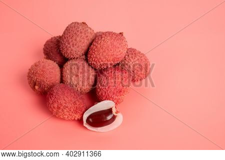 Tropical Fruits - Lychee Or Litchi On Pink Background With Copy Space, Selective Focus