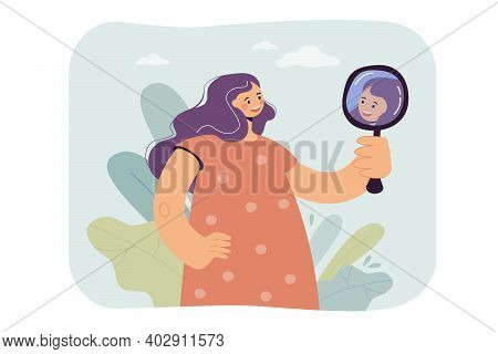 Happy Woman Looking At Herself In Mirror, Smiling, Admiring Reflection. Vector Illustration For Fema