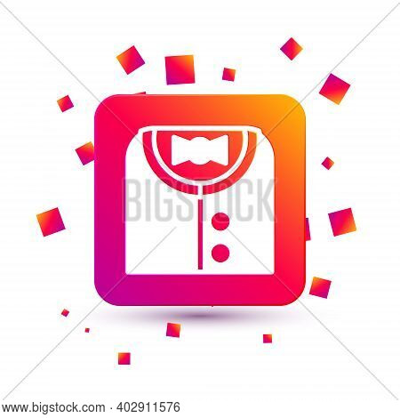 White Suit Icon Isolated On White Background. Tuxedo. Wedding Suits With Necktie. Square Color Butto