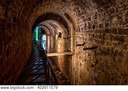 Vault Of The Cerezuelo River Under The Ruins Of The Church Of Santa Maria, Cazorla, Jaen, Andalusia,