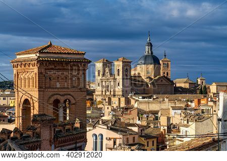 Toledo, Spain. View Of The Old City From The Alcazar, Royal Palace Over The Tagus River Sinuosity. S