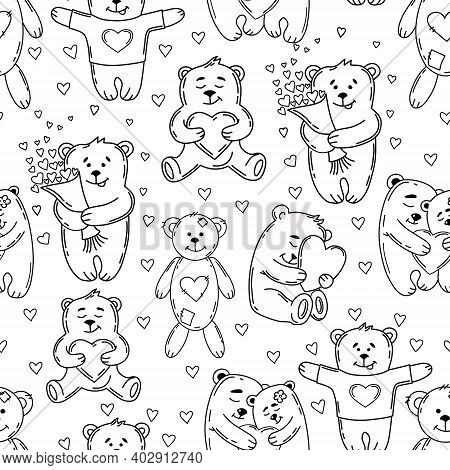 Love Bears Seamless Pattern In Contour Style. Cute Background For Valentine's Day Or Wedding. Endles