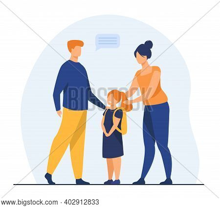 Parents Preparing Cute Daughter To School. Love, Study, Backpack Flat Vector Illustration. Education