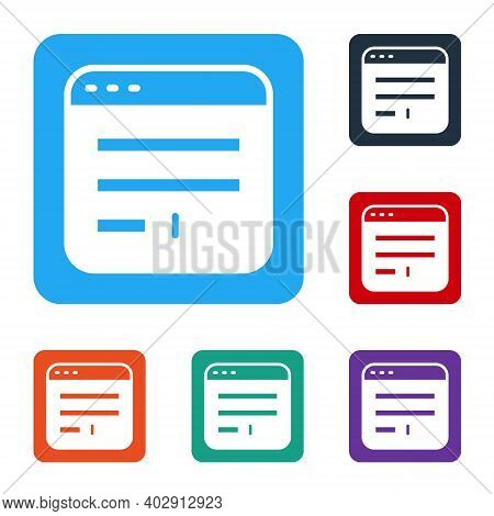White Browser Window Icon Isolated On White Background. Set Icons In Color Square Buttons. Vector