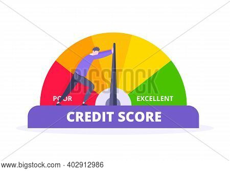 Man Pushes Credit Score Arrow Gauge Speedometer Indicator With Color Levels. Measurement From Poor T