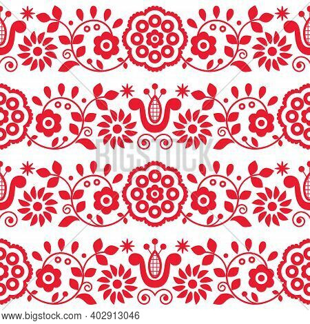 Polish Folk Art Vector Seamless Embroidery Pattern With Flowers And Hearts Inspired By Embroidery De