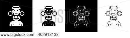 Set African Tribe Male Icon Isolated On Black And White Background. Vector