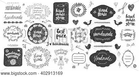 Vector Set Of Floral Decor, Hand Drawn Doodle Frames, Dividers, Borders, Elements. Isolated. Handmad