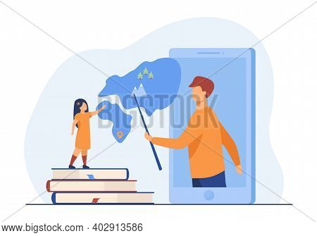 Teacher Explaining Geography To Pupil From Smartphone. Book, Mountain, Lesson Flat Vector Illustrati