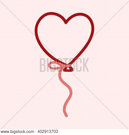 Valentines Day Theme Doodle Vector Icon Of Hand Drawn Ballon With Heart Shape On A Pink Background.