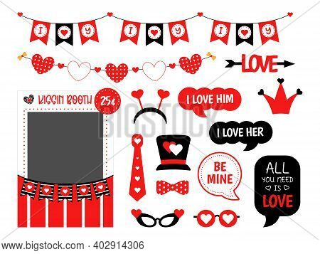 Valentines Day Photo Booth Props Set For Party