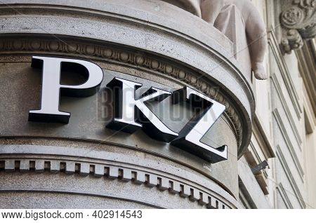 Lugano, Ticino, Switzerland - 7th January 2020 : Pkz Logo Sign Hanging On A Store Entrance In Lugano