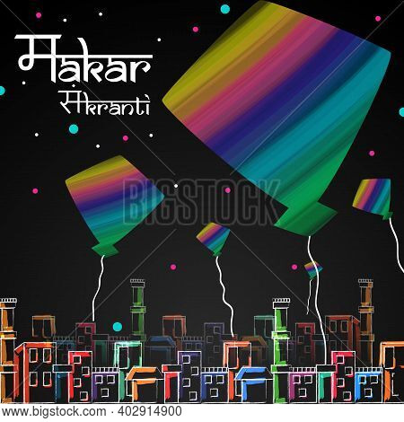 Happy Makar Sankranti Background With Colorful Kite