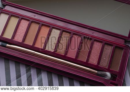 Set Of Women's Cosmetics, Eye Shadow And Eyelid. New Set Makeup, Beauty And Fashion. Close-up. Selec