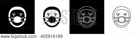 Set Doctor Pathologist Icon Isolated On Black And White Background. Vector