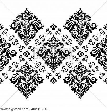 Classic Seamless Pattern. Damask Orient Black And White Horizontal Ornament. Classic Vintage Backgro
