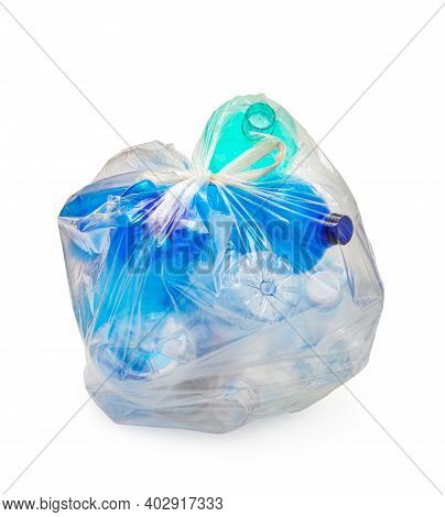 Garbage Bag With Plastic Bottles, Recycling Concept