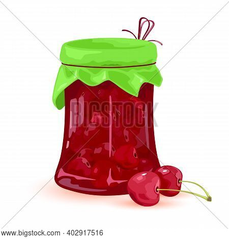 Jam Made Of Mellow Summer Fruit Cheery, Farm Harvest, Homemade Canned Sweets. Vector Small Berries W
