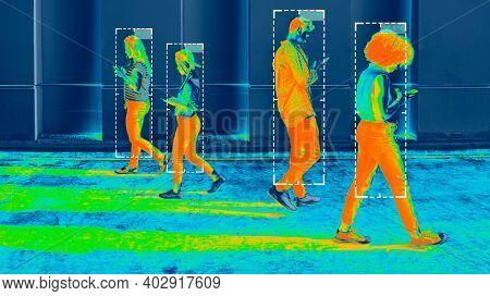 Body temperature during coronavirus pandemic thermal image