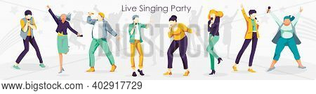 Live Singing Party. People Singing Song Together With Microphones. Karaoke Party, Contest, Competiti