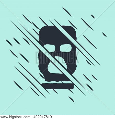 Black Balaclava Icon Isolated On Green Background. A Piece Of Clothing For Winter Sports Or A Mask F
