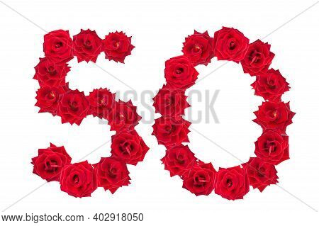 Numeral 50 Made Of Red Roses On A White Isolated Background. Red Roses. Element For Decoration. Fift
