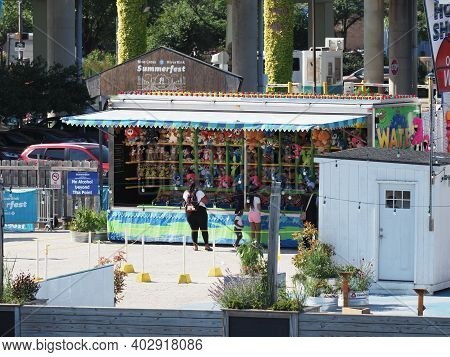 Philadelphia, Usa - June 11, 2019: Image Of Two Fairground Stalls Situated In The Small Theme Park N
