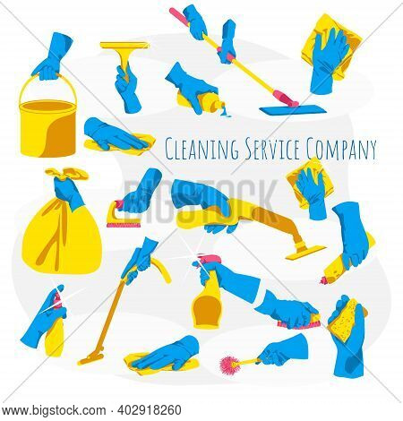Cleaning Service Concept. Hands In Rubber Gloves Holding Different Cleaning Tools. Housework Supplie