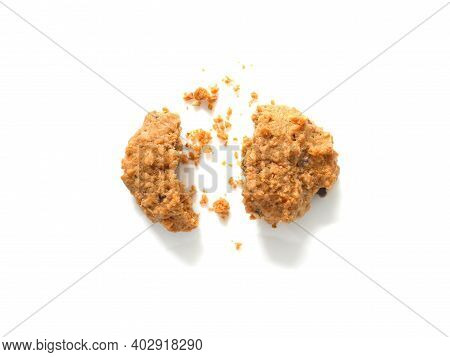 Oatmeal Cookies With Crumbs Isolated On White Background. Top View.