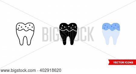 Dental Caries Icon Of 3 Types Color, Black And White, Outline. Isolated Vector Sign Symbol.