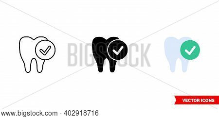 Protection Tooth Icon Of 3 Types Color, Black And White, Outline. Isolated Vector Sign Symbol.