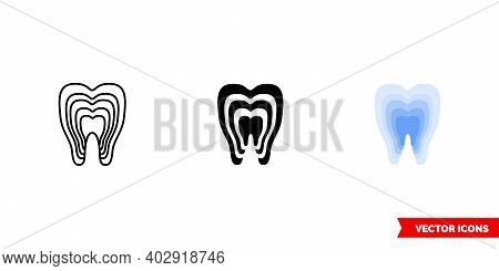 Restored Tooth Icon Of 3 Types Color, Black And White, Outline. Isolated Vector Sign Symbol.