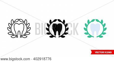 Tooth And Laurel Wreath Icon Of 3 Types Color, Black And White, Outline. Isolated Vector Sign Symbol