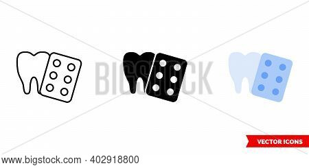 Tooth And Pills Icon Of 3 Types Color, Black And White, Outline. Isolated Vector Sign Symbol.