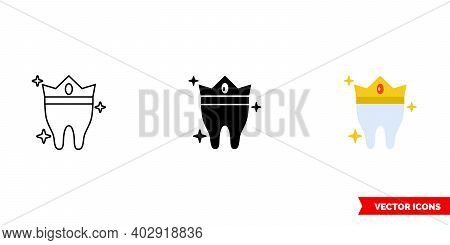 Tooth In The Crown Icon Of 3 Types Color, Black And White, Outline. Isolated Vector Sign Symbol.