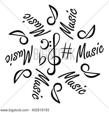 Music Concert Festival Doodle . Musical Notes, Treble Clef, Bass Clef. A Hand-drawn Round Compositio