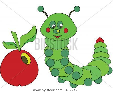 green caterpillar with red apple with smiling face poster