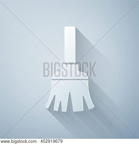 Paper Cut Feather Broom For Cleaning Icon Isolated On Grey Background. Feather Duster. Paper Art Sty