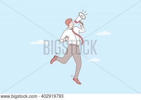 Promotion, Announcement, Attention Concept. Young Positive Businessman Cartoon Character Standing An