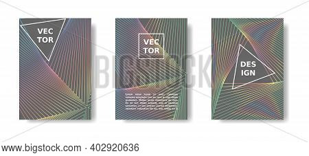 Minimal Geometric Poster Set. Rainbow And Grey Cover Design With Lines. Vector A4 Catalog, Magazine,