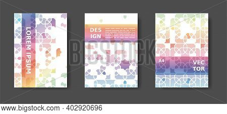Rainbow Abstract Cover Design With Arabic Color Mosaic. Disintegration Geometric Poster Set. Vector
