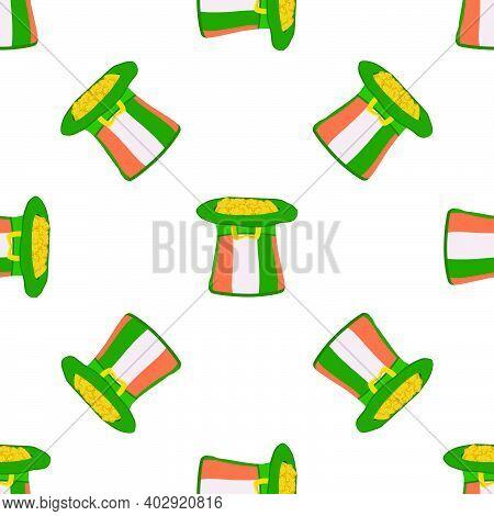 Illustration On Theme Irish Holiday St Patrick Day, Seamless Headdress Hats. Pattern St Patrick Day