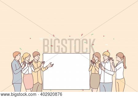 Promotion, Demonstration And Admiration Concept. Group Of Young Smiling Positive People Office Worke
